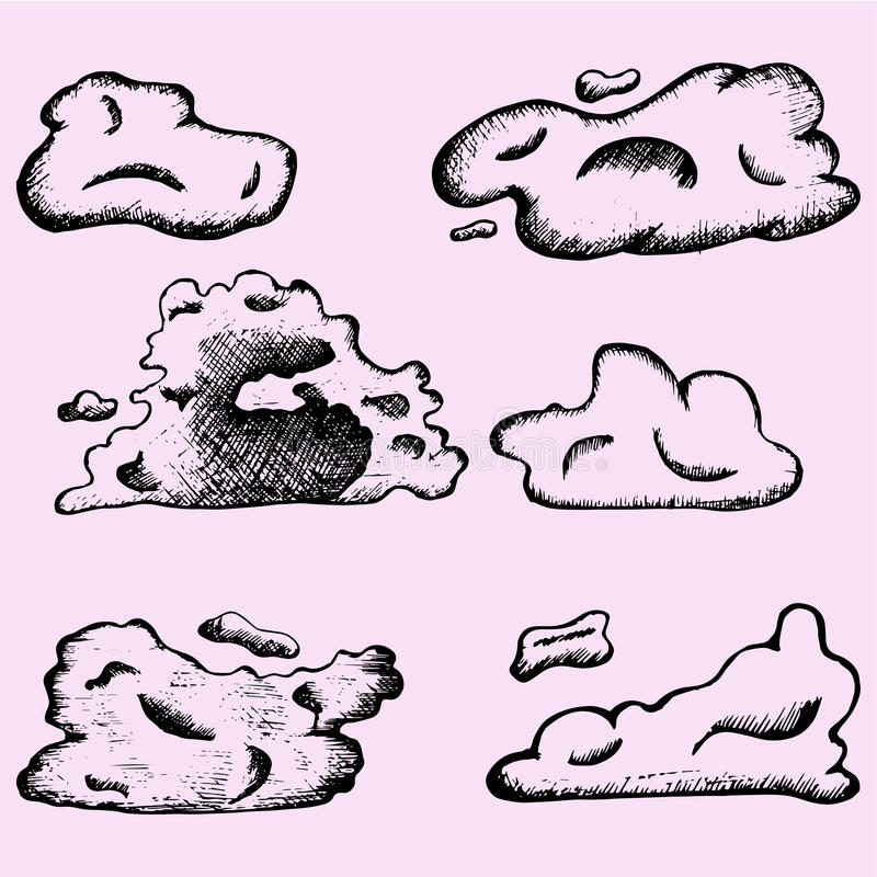 Clouds. Set clouds doodle style sketch illustration hand drawn vector stock illustration
