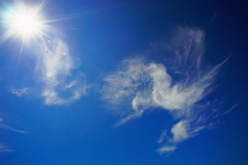 Clouds in the shape of a bird on a Sunny sky. royalty free stock image