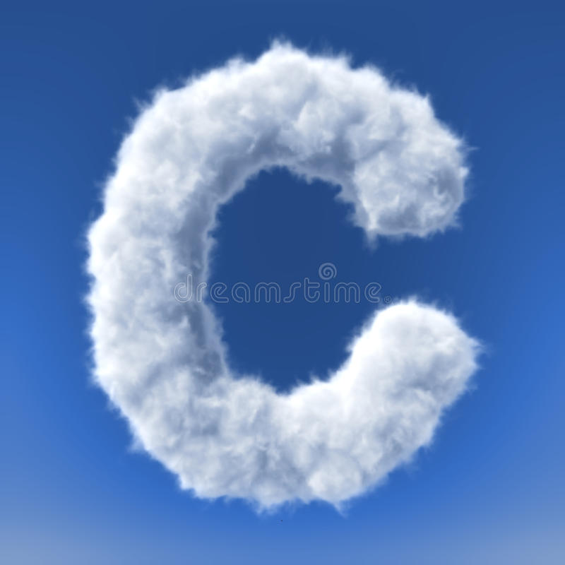 Clouds in shape of the letter stock illustration