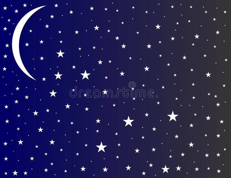 Clouds skies moon with stars night sky view with background. Many uses for advertising, book page, paintings, printing, mobile wallpaper, mobile backgrounds royalty free illustration