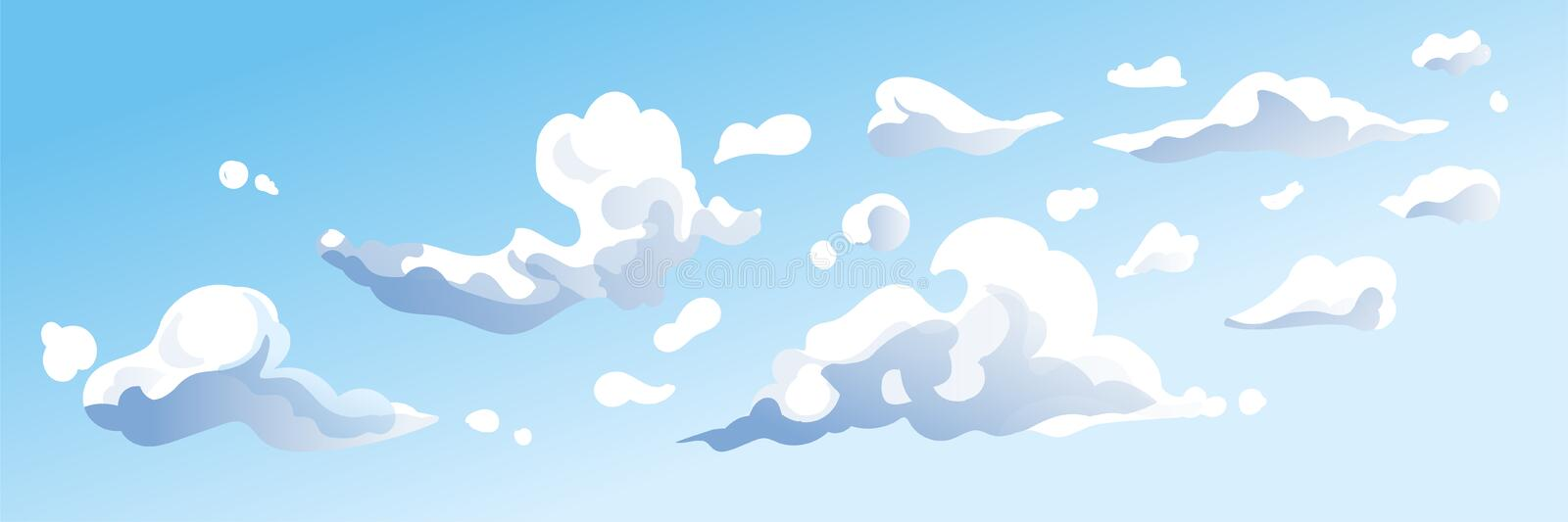 Clouds in the sky - abstract blue background. clear panorama. dream, future, climate and weather vector illustration royalty free illustration
