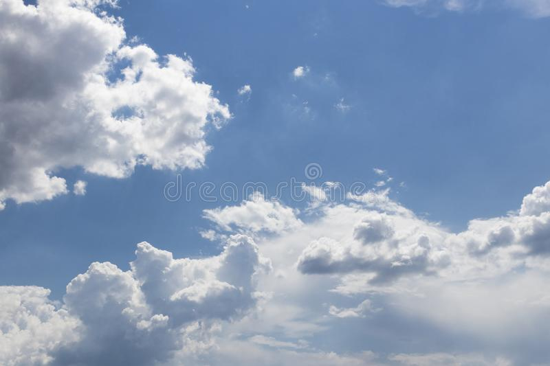 Clouds sky. Day blue sky with clouds. White clouds in the sky. Climate, cloudscape, cloudy, color, environment, fluffy, heaven, high, light, nature, outdoor royalty free stock photo