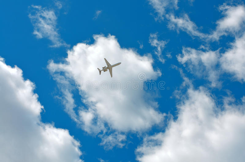 Clouds, sky, plane royalty free stock photo