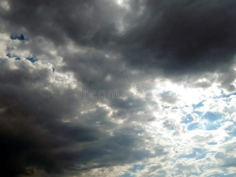 Clouds in the sky after a strong hurricane. Close-up stock photo
