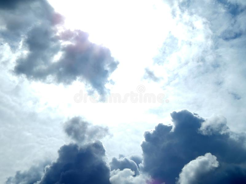 Clouds in the sky after a strong hurricane. Closeup stock photo