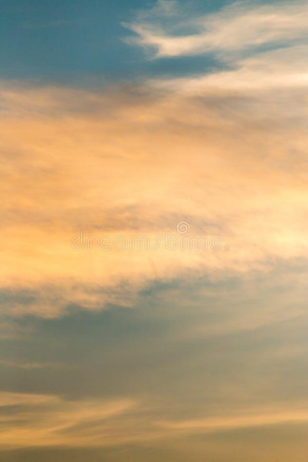 Clouds in the sky at sunset as background stock photography