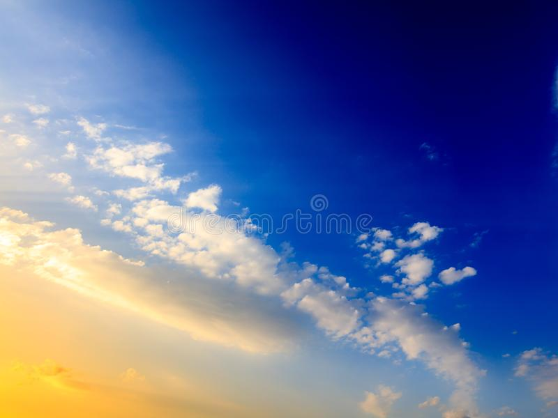 Clouds in the sky at sunset as background royalty free stock photography