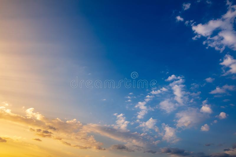 Clouds in the sky at sunset as background royalty free stock image