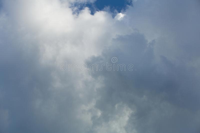 Clouds in the sky when the weather changes. Picturesque textured clouds in the sky at the daytime stock photos