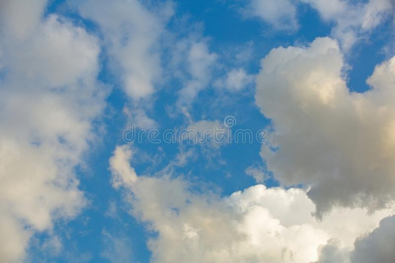 Clouds in the sky when the weather changes. Picturesque textured clouds in the sky at the daytime stock image