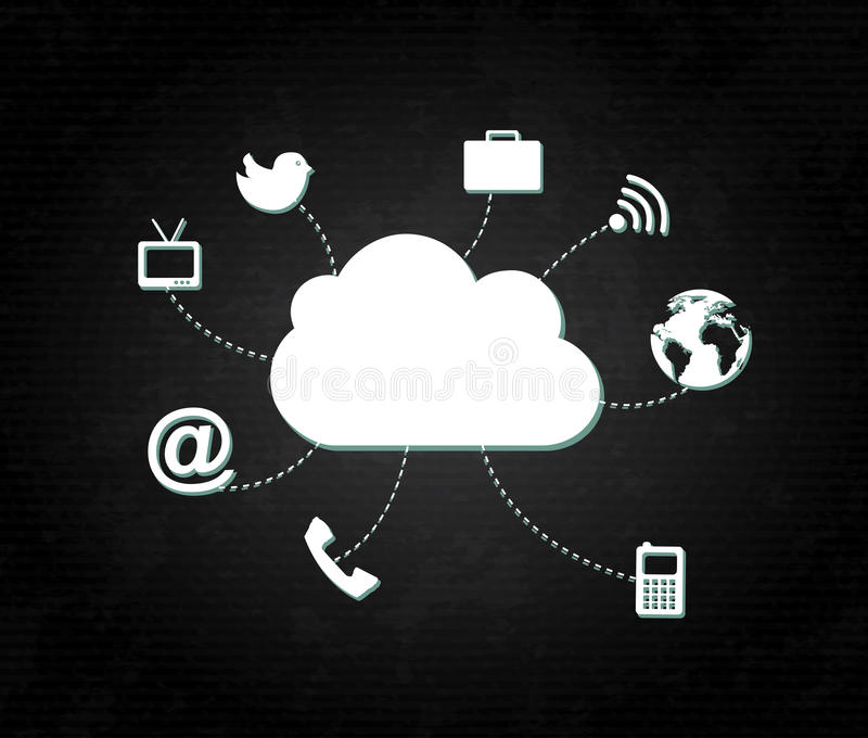 Clouds social icons. Over black background vector illustration stock illustration