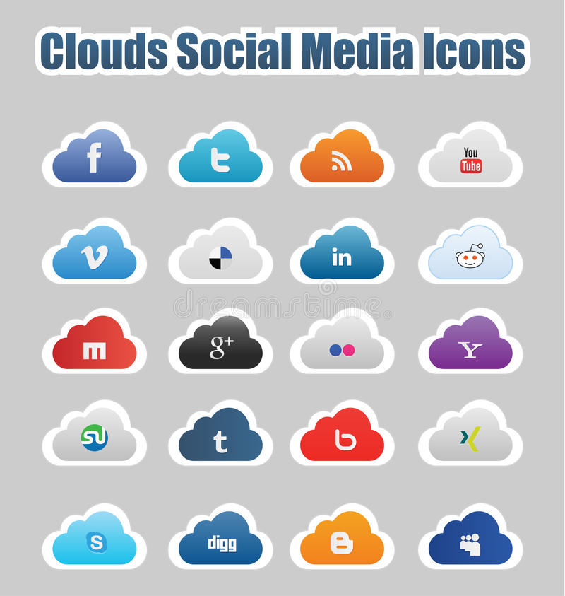 Clouds Social Media Icons 1. This a set of clouds social media icons suitable for your web and mobile projects Full resizable and editable. High quality royalty free illustration