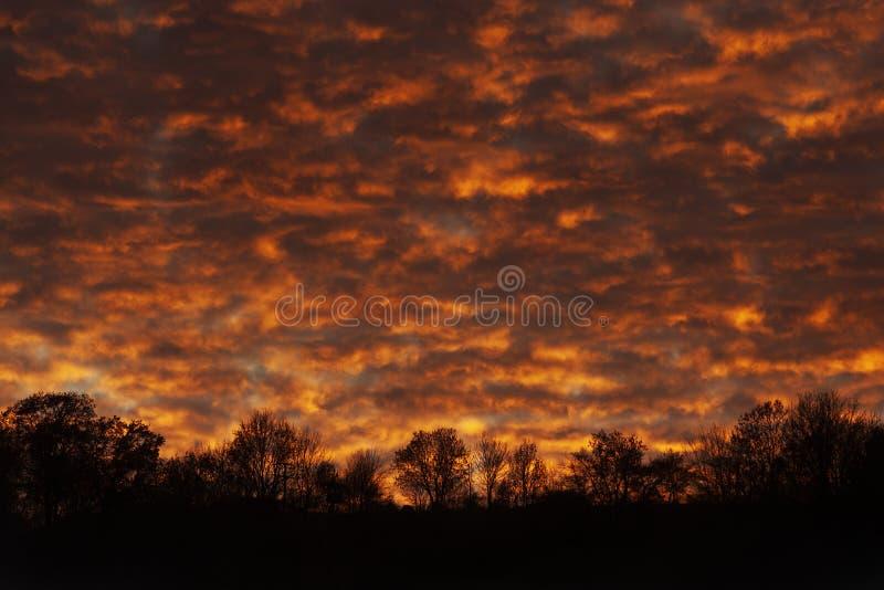 clouds solnedgång dramatisk sky Orange moln och svart kontur av horisonten royaltyfria foton