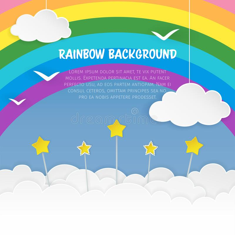 Clouds with stars and birds silhouettes on the rainbow background. Cloudy sky background. Colorful cloudscape background. vector illustration