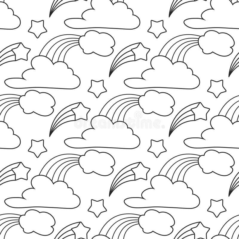 Clouds, Stars, Rainbow Seamless Pattern. Cartoon Pattern For Kids ...