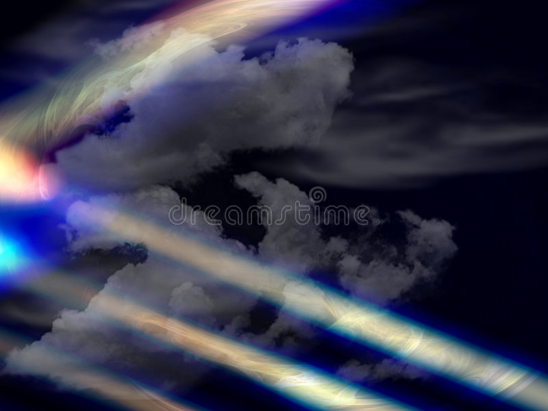 Clouds and strange lights royalty free stock photos