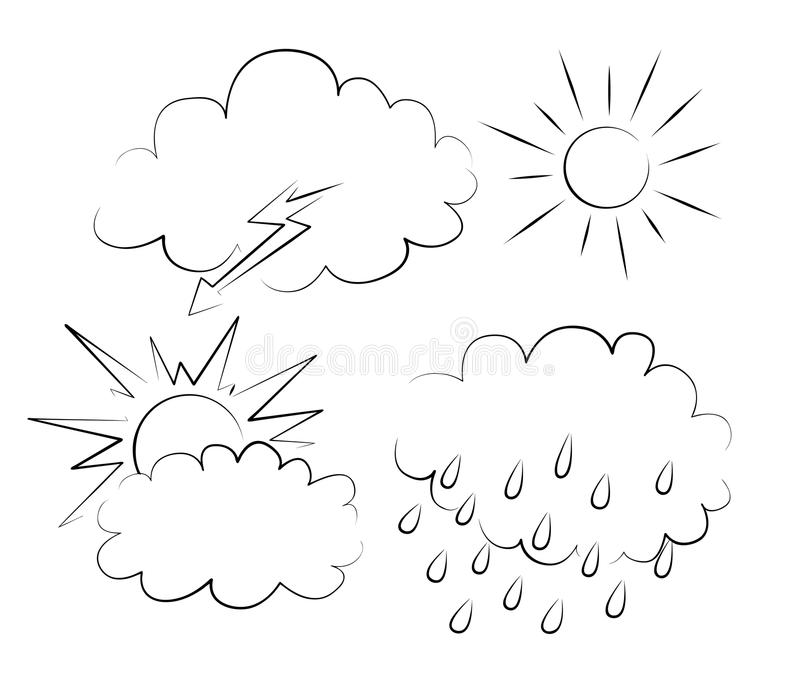 Clouds and sun vector illustration