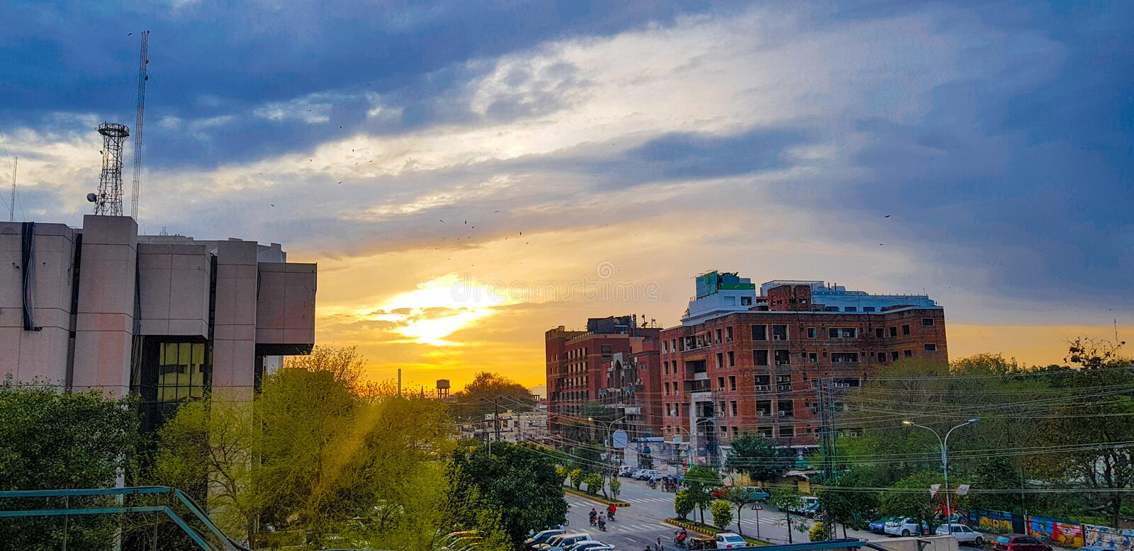 Clouds and sun with breeze stock photography