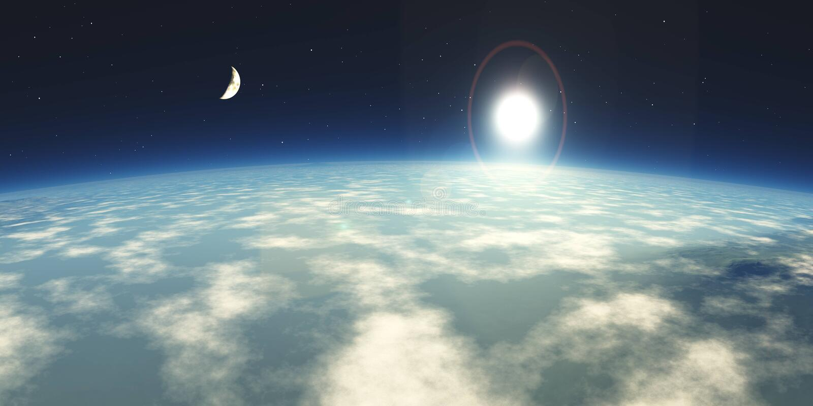 Over the clouds environment map. In the clouds, the sun in clouds, over the clouds environment map stock photography