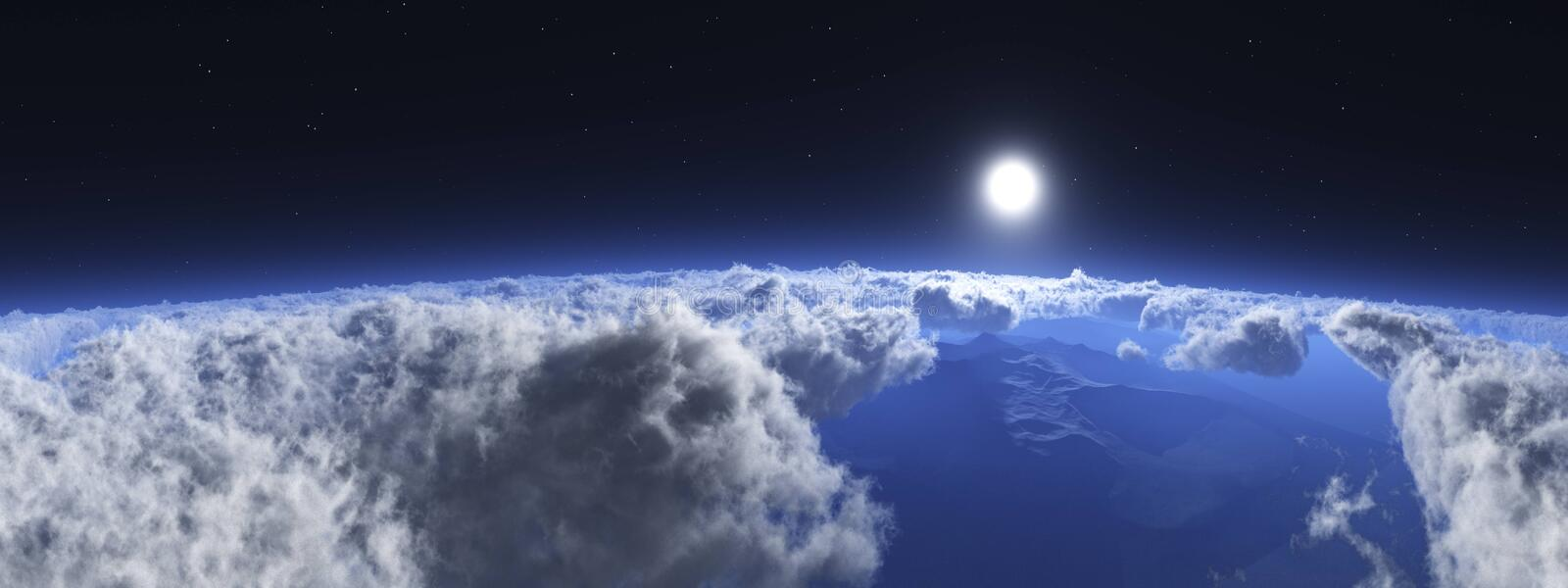 Over the clouds environment map. In the clouds, the sun in clouds, over the clouds environment map royalty free stock photos