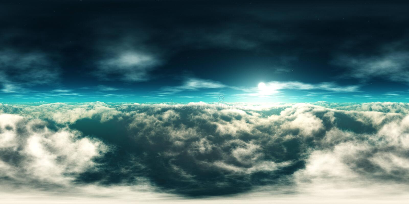 Over the clouds HDRI, environment map. In the clouds, the sun in clouds, over the clouds HDRI, environment map stock photography