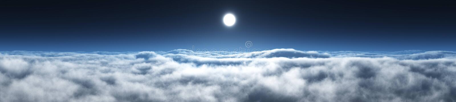 Over the clouds environment map. In the clouds, the sun in clouds, over the clouds environment map stock image
