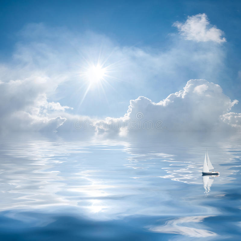 Clouds And Sun Reflection In Water Stock Image