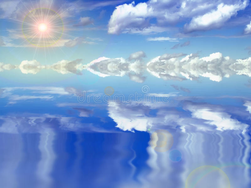 Download Clouds, sun and water stock illustration. Image of colorful - 21416254