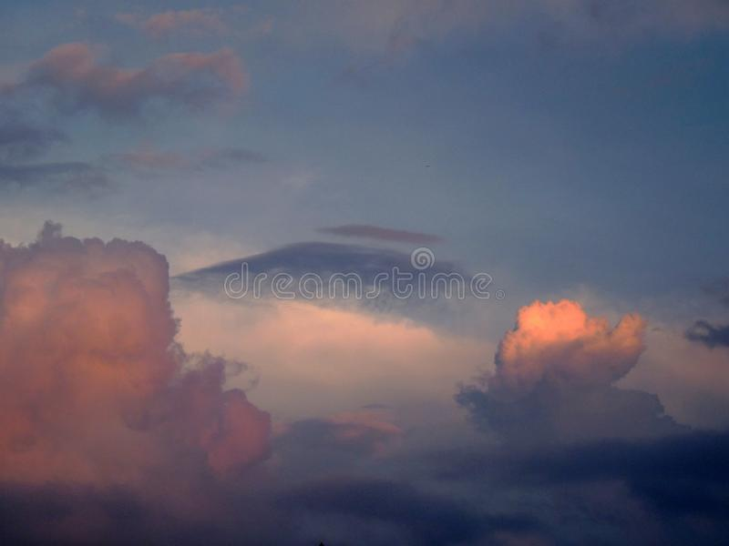 Clouds and sunset stock photography