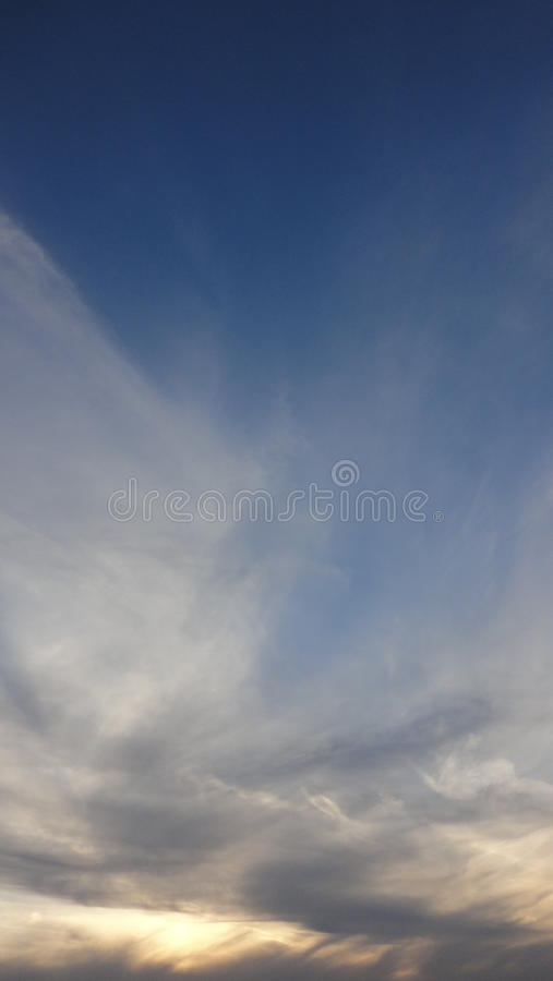 Clouds and sunset. Evening sky in winter of japan. countryside of tokyo. POI stock photo