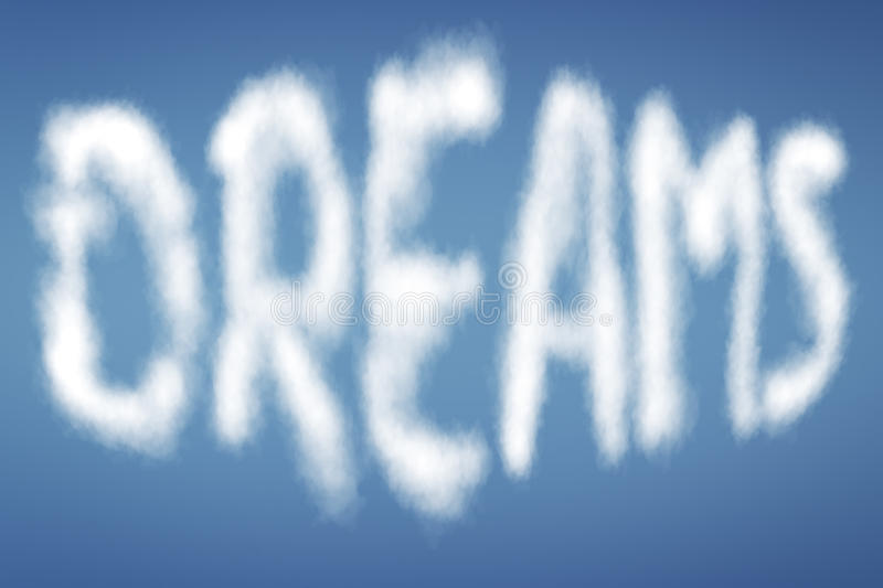 Clouds with text DREAMS royalty free stock photos