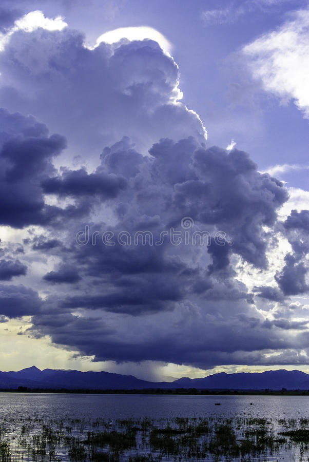 Clouds about to rain. In guachimontones, Jalisco, Mexico in a summer day royalty free stock images