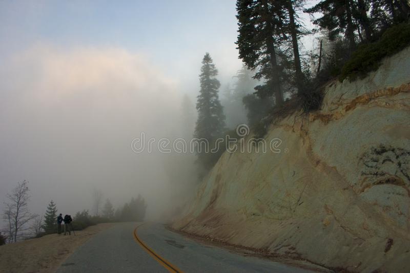 In the clouds on top of the mountain. The Sierra Nevada is a mountain range in the Western United States. royalty free stock images