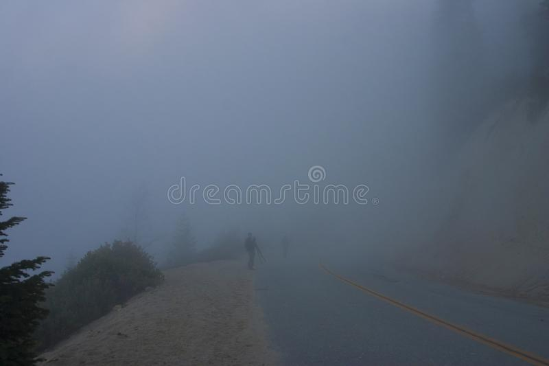 In the clouds on top of the mountain. The Sierra Nevada is a mountain range in the Western United States. royalty free stock photography