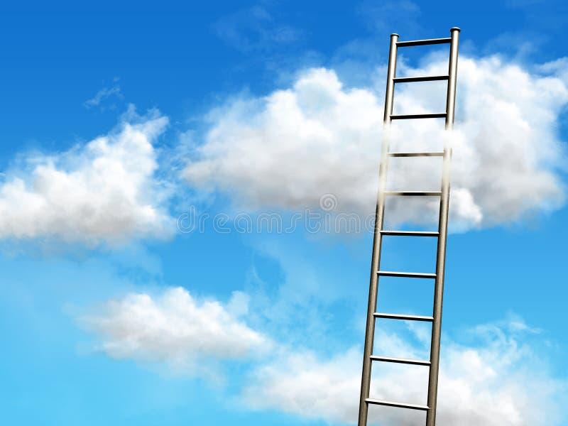 clouds trappa till stock illustrationer