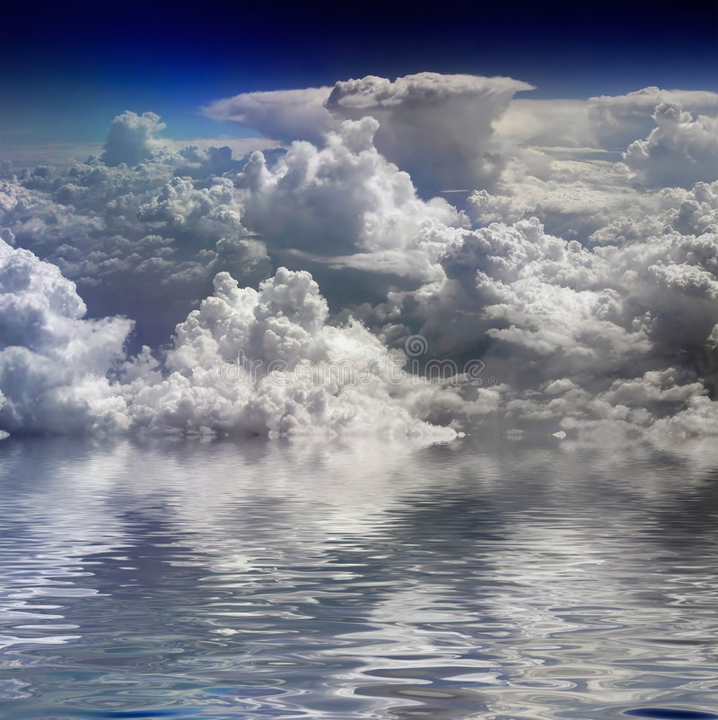 Clouds and water stock photo