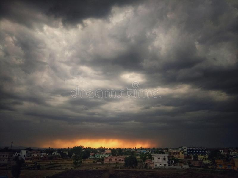 Clouds weather. Coulds weather sunset horizon stock image
