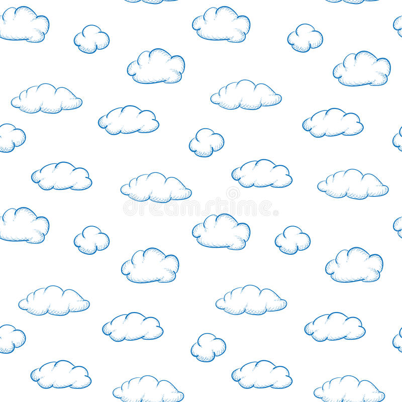Clouds on white - seamless vector texture. Blue drawing clouds on a white background - seamless vector texture stock illustration