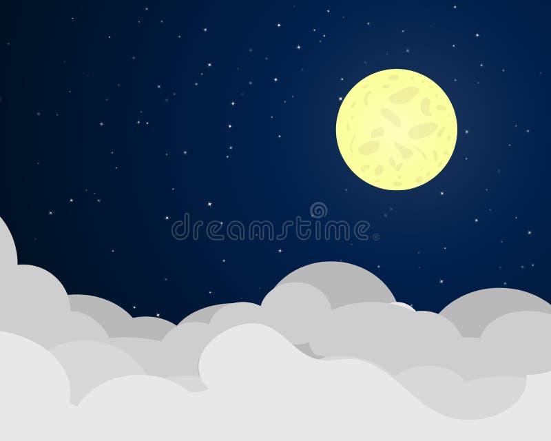 Cloudscape在与满月的晚上 皇族释放例证