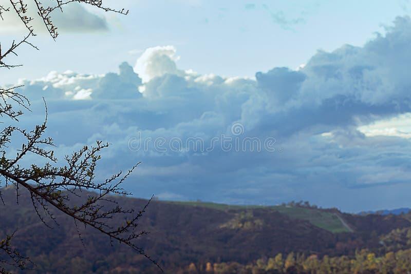 Cloudscape кумулюса, облаков nimbus над каньоном Griffith Park стоковое фото