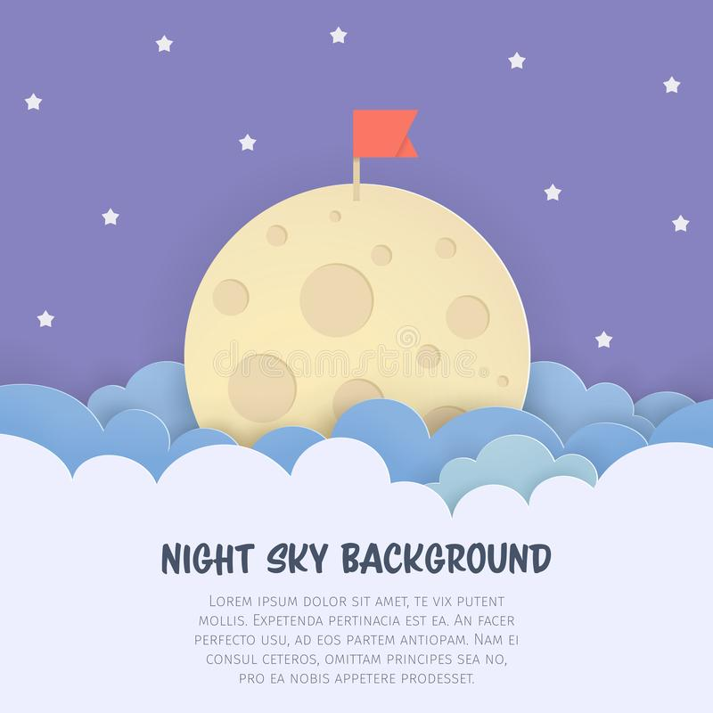 Cloudscape background with the flag on the Moon. Scenery sky background with clouds, full moon, and stars. Paper art style. vector illustration