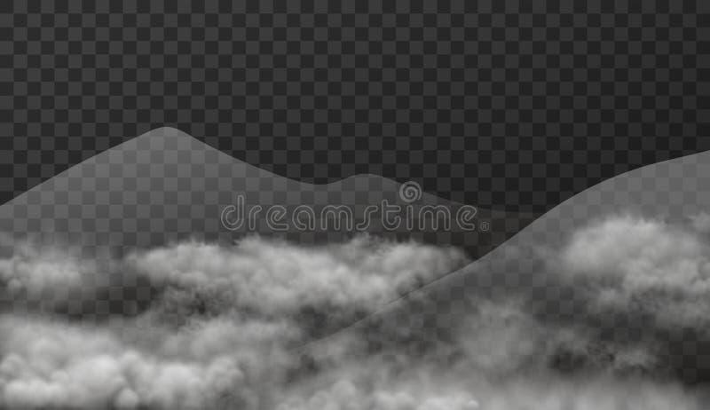 Cloudscape con las montañas en la niebla aislada en fondo transparente Ejemplo de la textura del vector del paisaje realista con  ilustración del vector