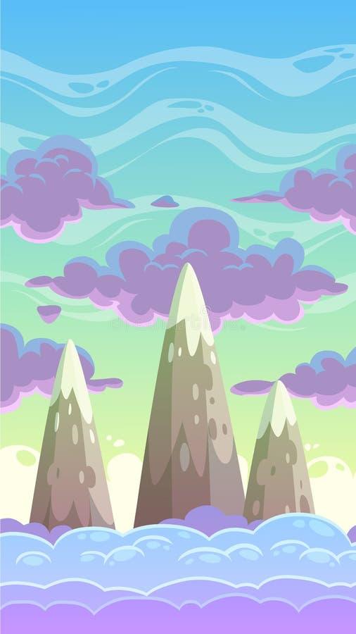 Cloudscape de la vertical de la historieta stock de ilustración