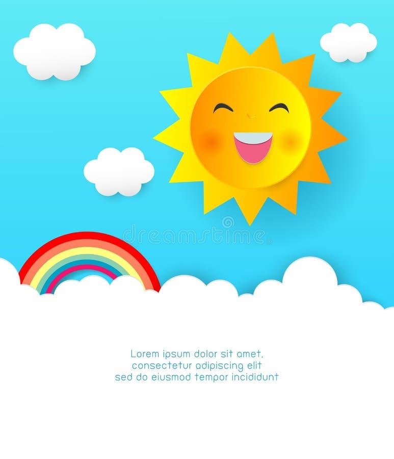 Cloudscape, document sneed zon en wolken, regenboog, document kunststijl, de Zomerkader vectorillustratie van leuke de zomerachte vector illustratie