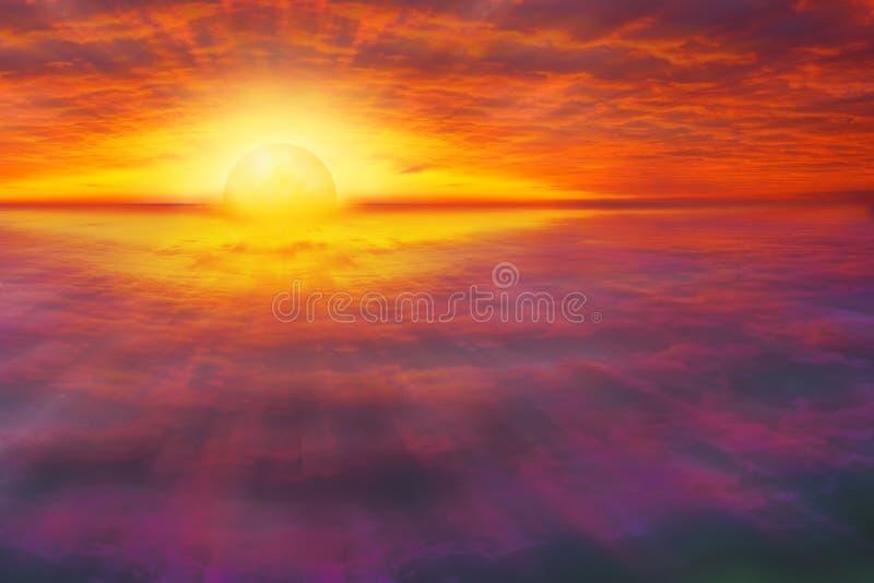 Cloudscape espiritual, colorido do por do sol fotos de stock royalty free