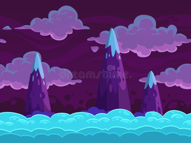 Cloudscape horizontal de la historieta inconsútil stock de ilustración
