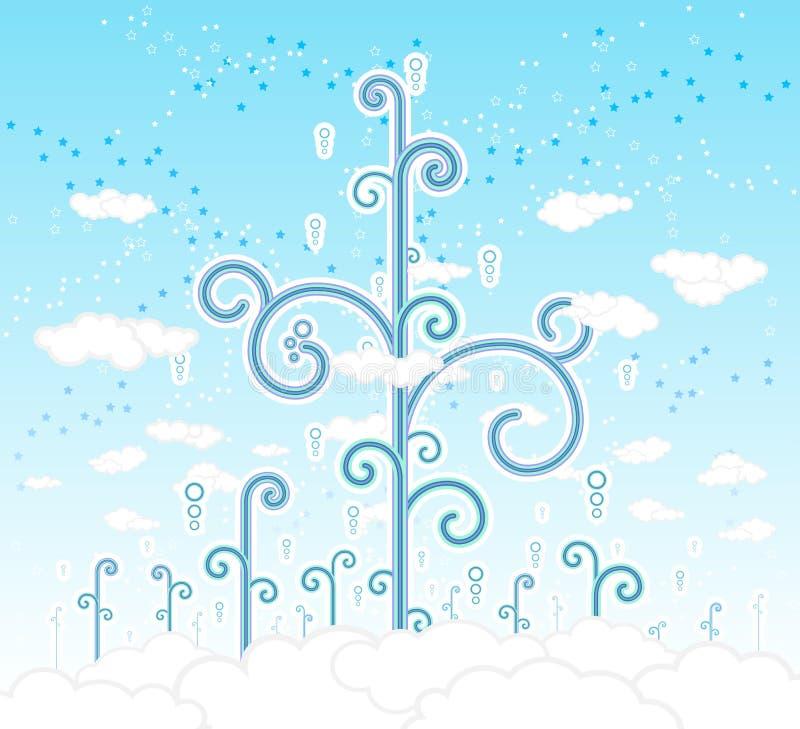 cloudscape kędzierzawi magicznych drzew ilustracja wektor