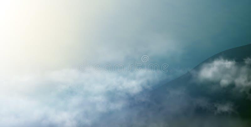 Cloudscape met donkere berg in onweerstijd Vectorillustratie van realistisch landschap met avondhemel stock fotografie
