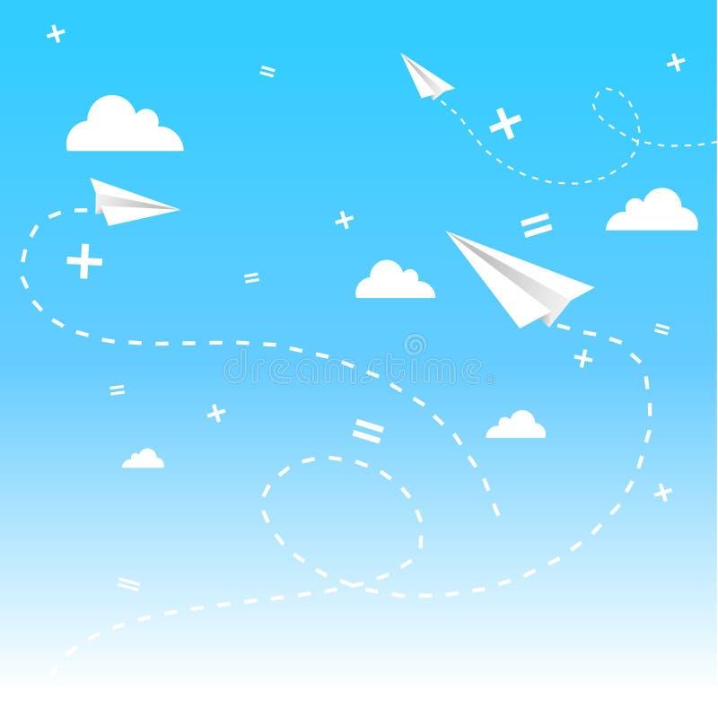 Cloudscape met paperplanes. royalty-vrije illustratie