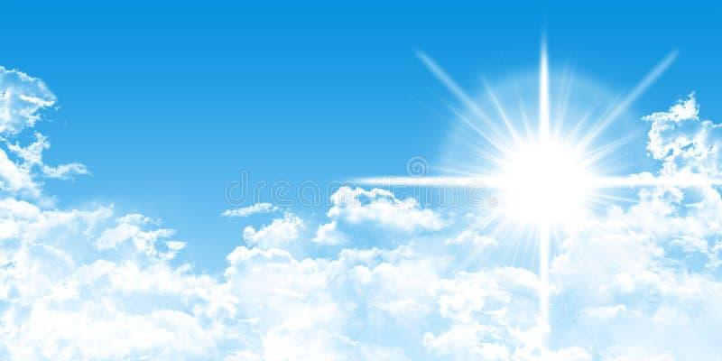 Cloudscape met zonneschijn en blauwe hemel royalty-vrije illustratie